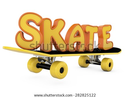 skateboard with the word SKATE isolated on a white background - stock photo