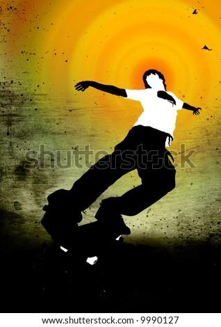 skateboarder - stock photo
