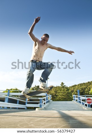 skateboarder air - stock photo