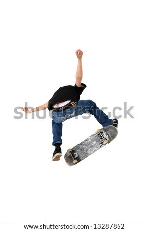 Skateboarder doing a kickflip with his board, Shot in studio and isolated on white with some motion blur - stock photo