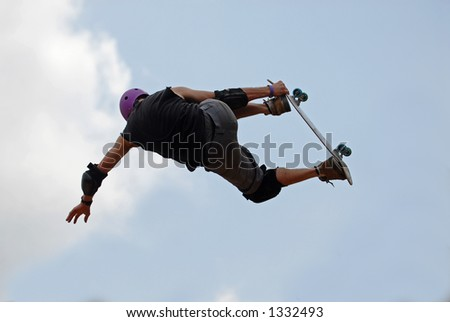 skateboarder in action - stock photo