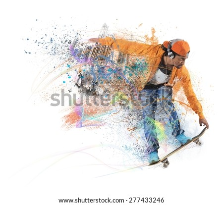 Skateboarder likes to roll through the city - stock photo