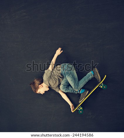Skateboarding downhill - stock photo