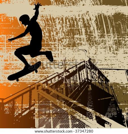 Skateboy Grunge Bitmap Background - stock photo
