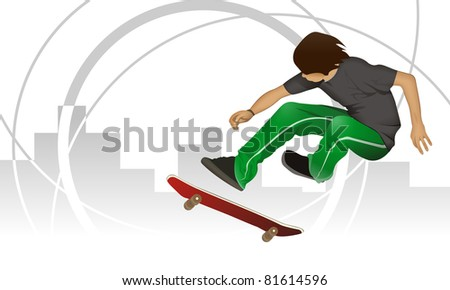 Skater boy from urban background jump with skate board