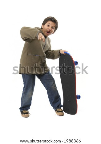 Skater boy making funny expressions. Full body, white background.