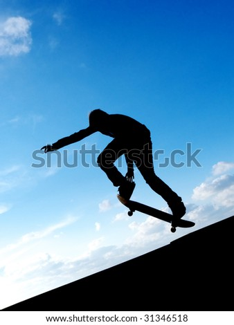 Skater in sky. Element of design. - stock photo