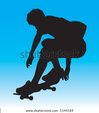 Skater silhouette ollie'ing getting some air.  Contains clipping path. - stock photo