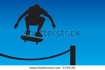 Skater silhouette ollie'ing over a rope fence getting some air.  Contains clipping path. - stock photo