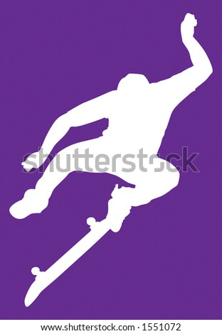 Skater silhouette performaing a kung fu kick flip.  Clipping path included. - stock photo