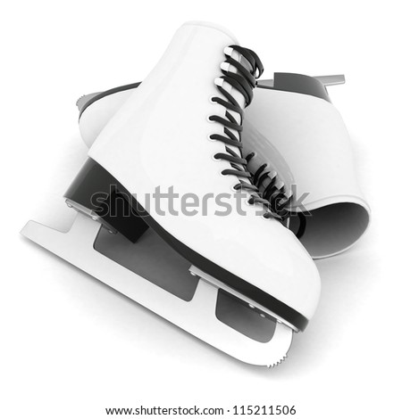 skates for figure skating on a white background - stock photo