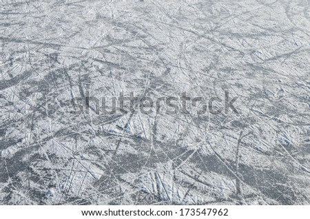 skating ice  rink texture covered with snow - stock photo