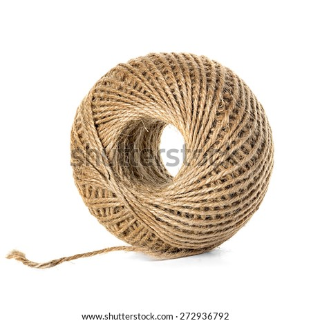 Skein of jute twine isolated on the white background - stock photo