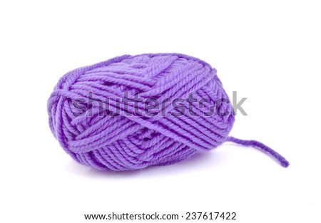 Skein of purple wool on bright background - stock photo