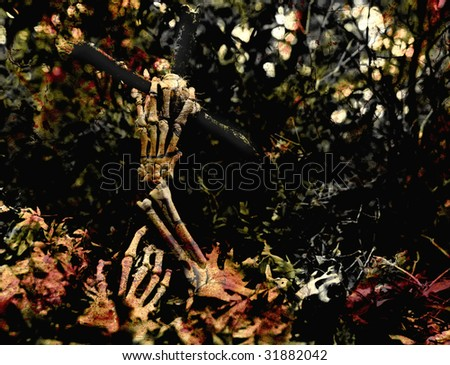 skeletal hands coming out of a grave, textured with paint and cracked wood layers - stock photo