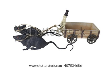 Skeleton Driving Cart Drawn by Rats - path included - stock photo