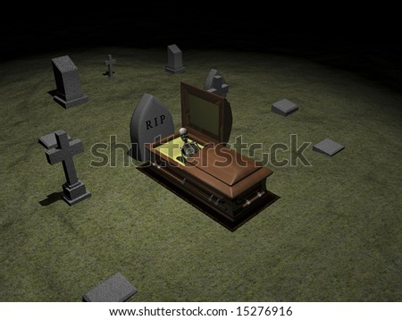 Skeleton in casket in grave yard. 3D image for halloween. - stock photo