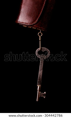 Skeleton key hanging from leather holder - stock photo