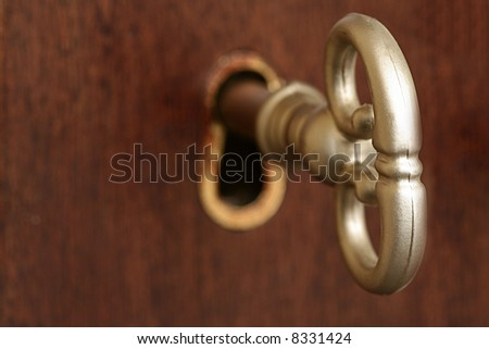 Skeleton Key in Keyhole of wooden door - stock photo