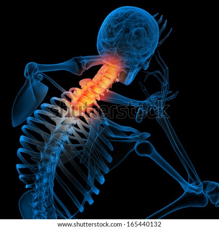 Skeleton of the man with the backbone - pain neck - stock photo