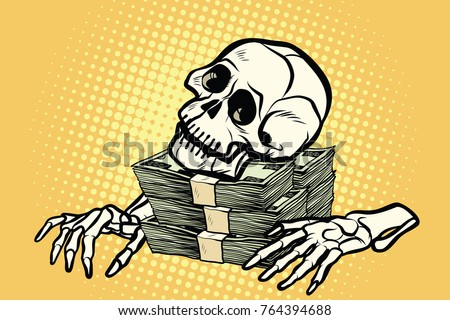 Skeleton skull dollar money wealth and greed pop art retro illustration
