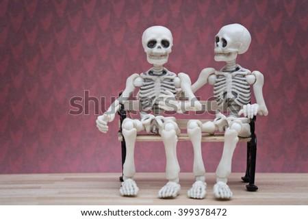 skeleton talks - stock photo