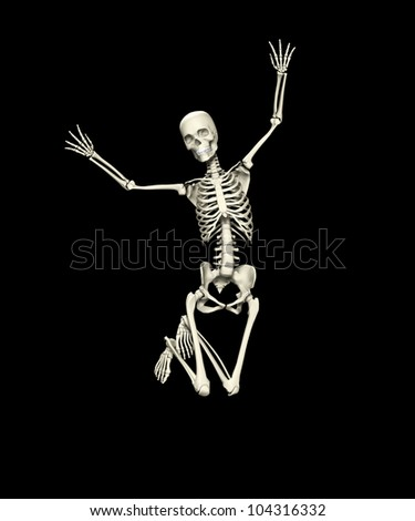 Skeleton that is jumping for joy - stock photo