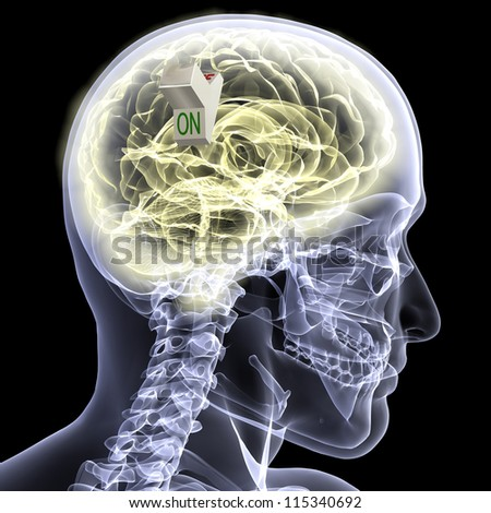 Skeleton X-Ray - Brain ON: X-Ray of a male skeleton with his glowing brain displayed and a switch set to the ON position. Isolated on a black background - stock photo