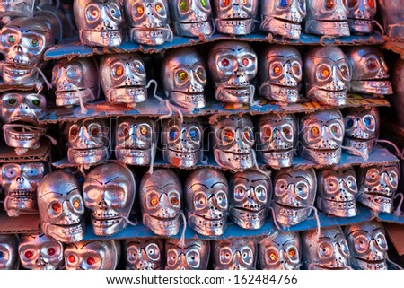 Skeletons is obligatory attribute of Traditional Day of the Dead - stock photo