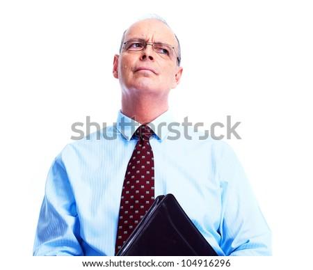 Skeptical businessman. Isolated over white background. - stock photo