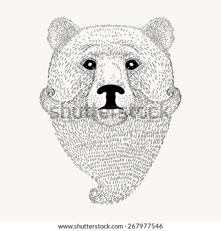 Sketch Bear with a beard and moustache. Hand drawn illustration in Doodle style. - stock photo