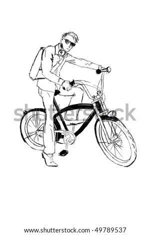 sketch bicyclist with bicycle - stock photo