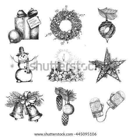 Sketch christmas decorations and symbols wreath, snowman, candle. - stock photo