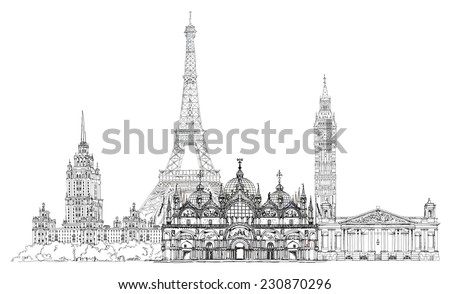 Sketch collection of famous buildings. Eiffel tower, St. Marco in Venice, big Ben in London, Stalin's building in Moscow etc. - stock photo