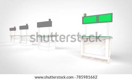 Sketch design of information boxes with queue counter. 3D illustration.