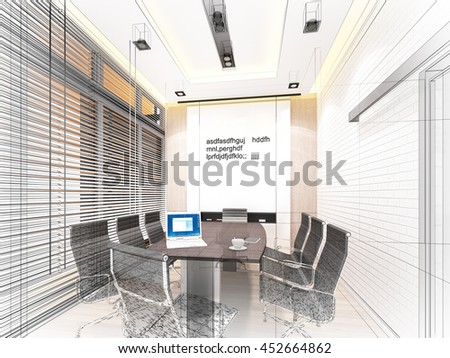 sketch design of interior conference room, 3d rendering wire frame