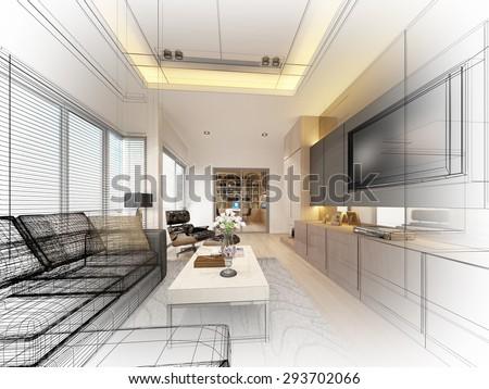 sketch design of living ,3dwire frame render - stock photo