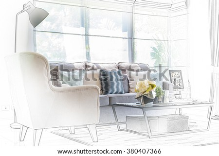 sketch design of modern living room with modern chair and sofa at home - stock photo