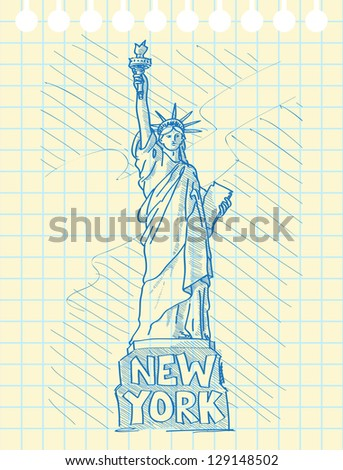 Sketch draw of statue of liberty in New York. Raster version. - stock photo