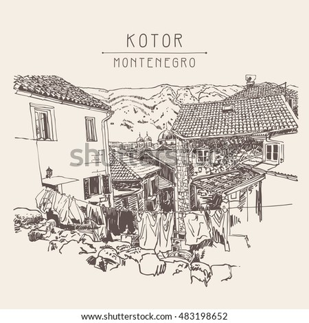 sketch drawing of old town view Kotor Montenegro, vintage touristic postcard, raster version vector illustration