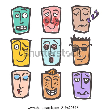 Sketch emoticons face expressions and emotions colored icons set of cool scared laughing man isolated  illustration - stock photo