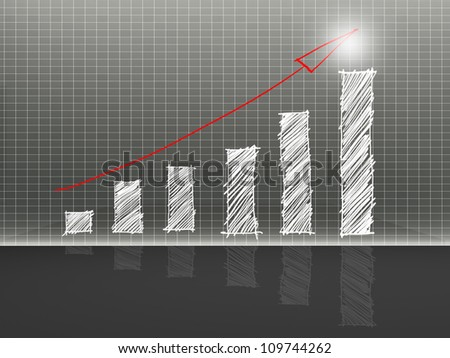 sketch graph and arrow red - stock photo