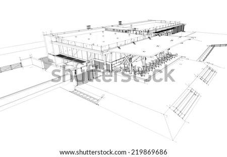 Sketch idea, Perspective building wireframe - Vector illustration  - stock photo