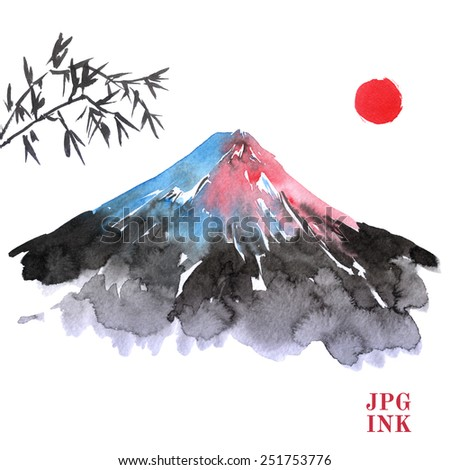 Sketch illustration of a mountain Fujiyama, bamboo leaves and Mount Fuji. bamboo leaves painted. picture in the Japanese tradition, watercolor mountain painted, sun, isolated. Fuji in the setting sun. - stock photo