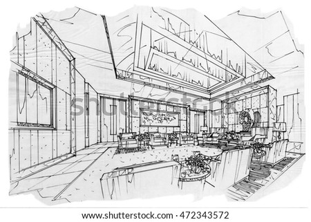 Sketch interior perspective vip meeting room stock for Vip room interior design