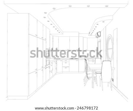 Sketch, kitchen modern design project  - stock photo