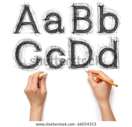 sketch letters and numbers with hand and pencil with clipping path - stock photo