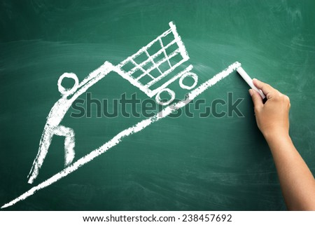 sketch man with shopping chart, concept expensive purchase - stock photo