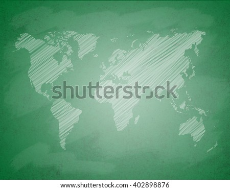 Sketch map of the world on chalk board.Abstract green chalkboard background with world map in white tone. close up of a green dirty chalkboard. - stock photo