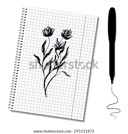 Sketch notepad with picture. Flowers bouquet. Raster layered illustration. Easy to paste your image on the paper sheet. Can be used for business or web design.